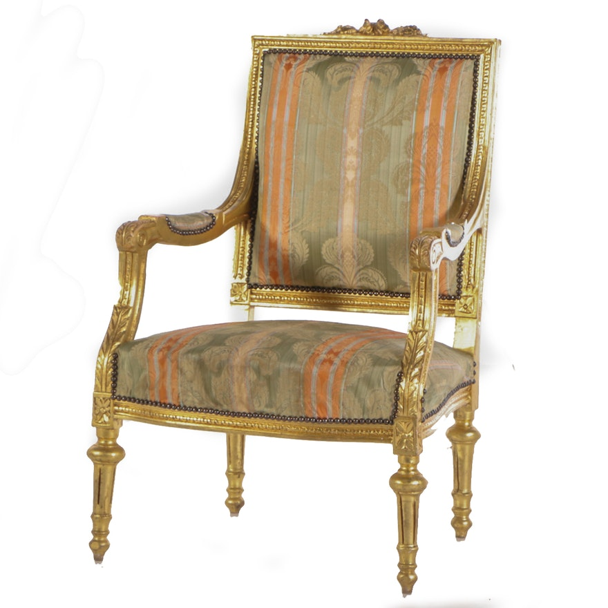 Louis XVI Style Gilt Wood Upholstered Fauteuil Armchair, Late 20th Century