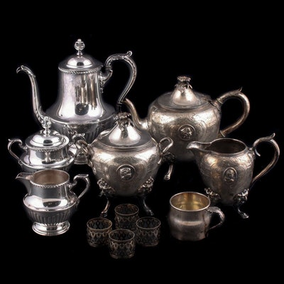 Silver Plate Tea and Coffee Services with Other Table Accessories