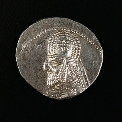 Ancient Parthian Kingdom AR Drachm Coin of Orodes I, ca. 90 B.C.