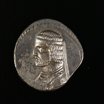 Ancient Parthian Kingdom AR Drachm Coin of Arsakes XVI, ca. 78 B.C.