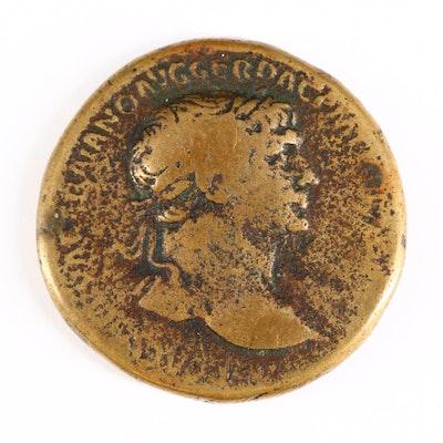 Ancient Roman Imperial AE Sestertius Coin of Trajan, ca. 103 A.D.