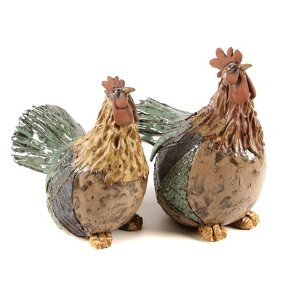 Earthenware Rooster Figurines