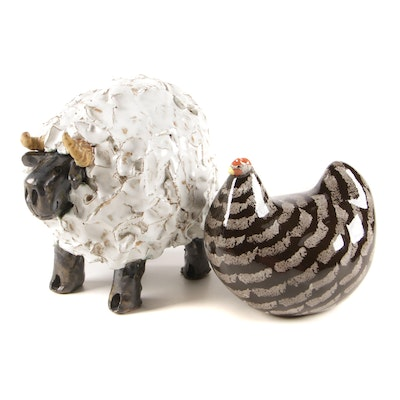 La Poule Pottery of France Provence Hen and Sheep Figurines