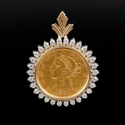 14K Gold Cubic Zirconia Pendant with 1881 Liberty Head $5 Gold Coin