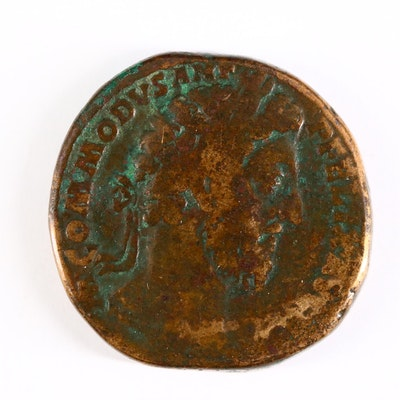 Ancient Roman Imperial AE Sestertius Coin of Commodus, ca. 186 A.D.