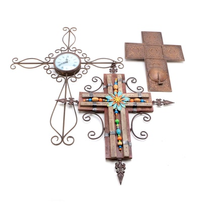 Metal Cross Wall Clock, Decor and Candle Holder