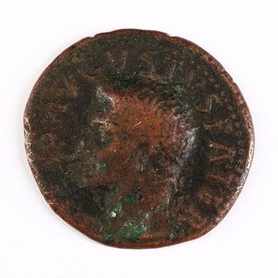 Ancient Roman Imperial AE As Coin of Divus Augustus, ca. 35 A.D.
