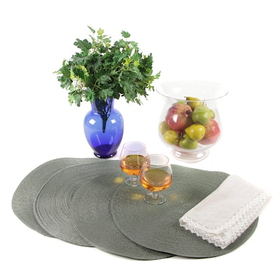 Decorative Glass Centerpiece with Vase and Other Tableware