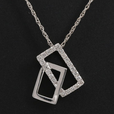 14K Gold Diamond Geometric Pendant Necklace
