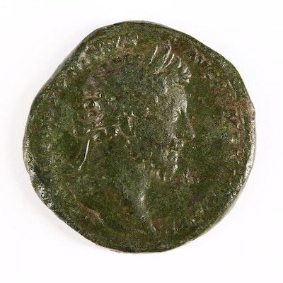 Ancient Roman Imperial AE Sestertius Coin of Marcus Aurelius, ca. 163 A.D.