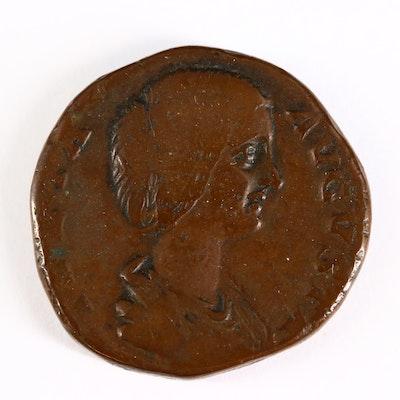 Ancient Roman Imperial AE Sestertius Coin of Julia Domna, ca. 195 A.D.