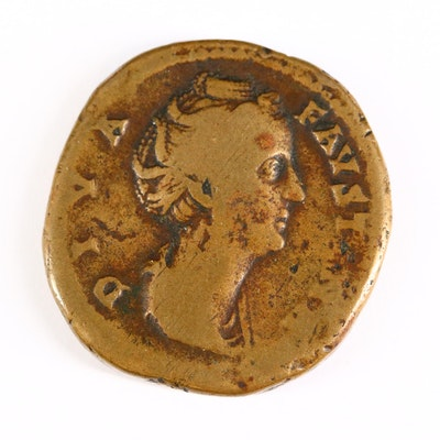 Ancient Roman Imperial AE Sestertius Coin of Diva Faustina, ca. 147 A.D.