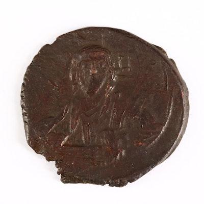 "Ancient Byzantine Class A2 ""Anonymous"" Bronze Follis Coin, ca. 976 A.D."