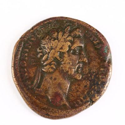 Ancient Roman Imperial AE Sestertius Coin of Antoninus Pius, ca. 144 A.D.