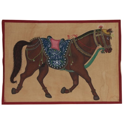 Monumental Indian Mughal Style Gouache Painting on Cloth of a Horse