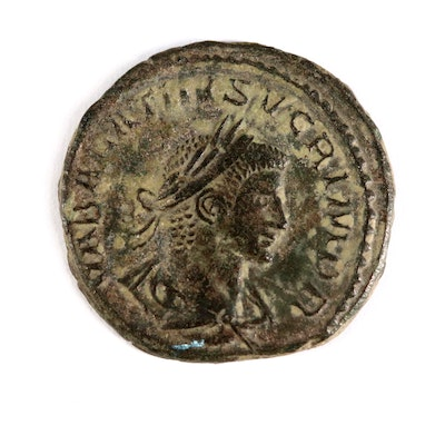 Ancient Roman Imperial AE Antoninianus of Vabalathus and Aurelian, ca. 271 A.D.
