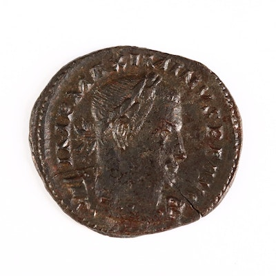 Ancient Roman Imperial AE Follis Coin of Maximinus II, ca. 310 A.D.