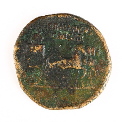 Ancient Roman Imperial AE Dupondius Coin of Germanicus, ca. 37 A.D.