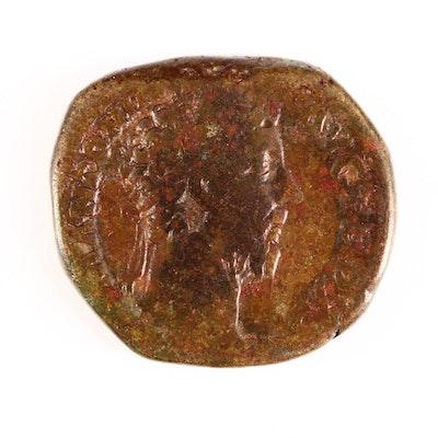 Ancient Roman Imperial AE Sestertius Coin of Marcus Aurelius, ca. 170 A.D.