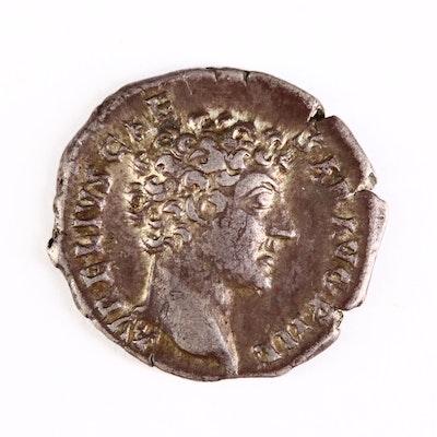 Ancient Roman Imperial AR Denarius of Marcus Aurelius, ca. 147 A.D.