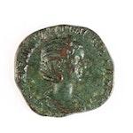 Ancient Roman Imperial AE Sestertius Coin of Herennia Etruscilla, ca. 250 A.D.