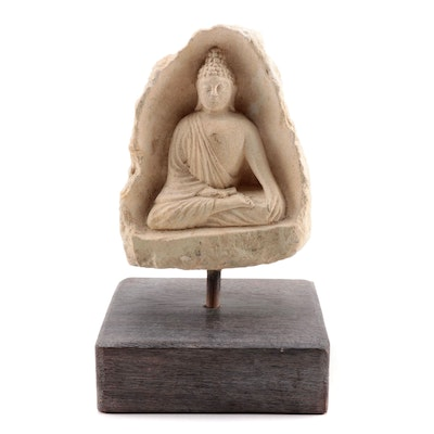 Southeast Asian Sandstone Carved Buddha Figure
