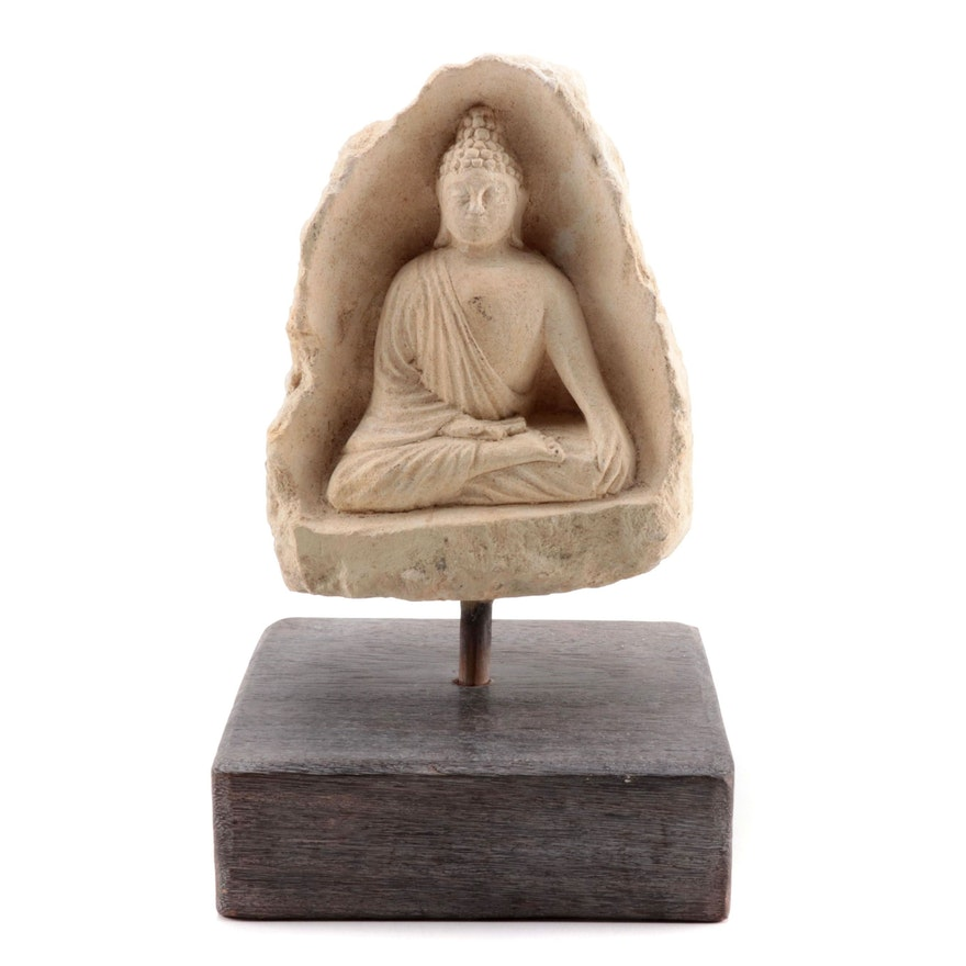 Southeast Asian Sandstone Carved Buddha Figure