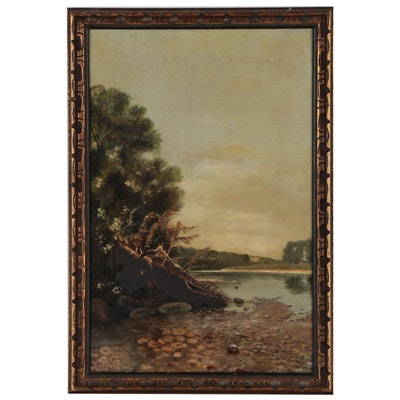 Scottish River Tay Landscape Oil Painting, 1881