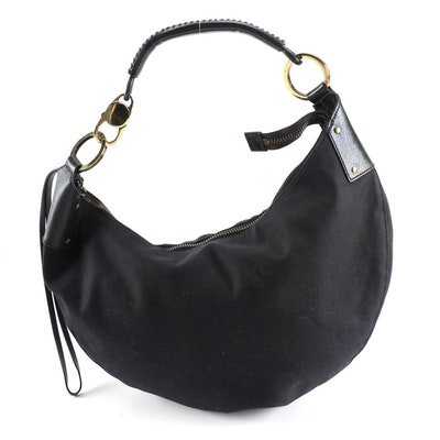 Gucci Demi Moon Hobo Bag in Black Canvas and Leather with Whipstiching