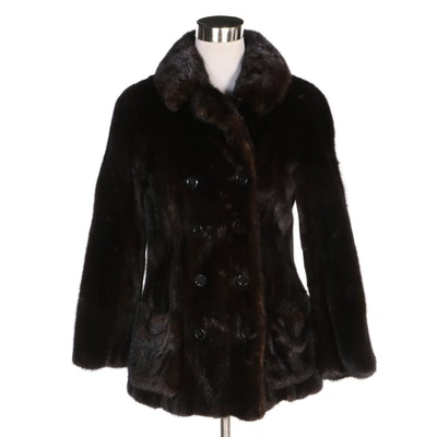 Dark Mahogany Mink Fur Double-Breasted Jacket, Vintage
