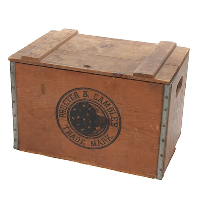 Procter & Gamble Metal-Bound Pine Ivory Soap Crate
