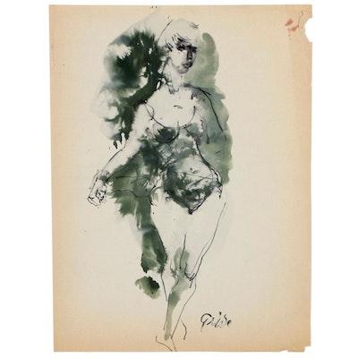 Hendrik Grise Expressionist Watercolor Painting of Figure