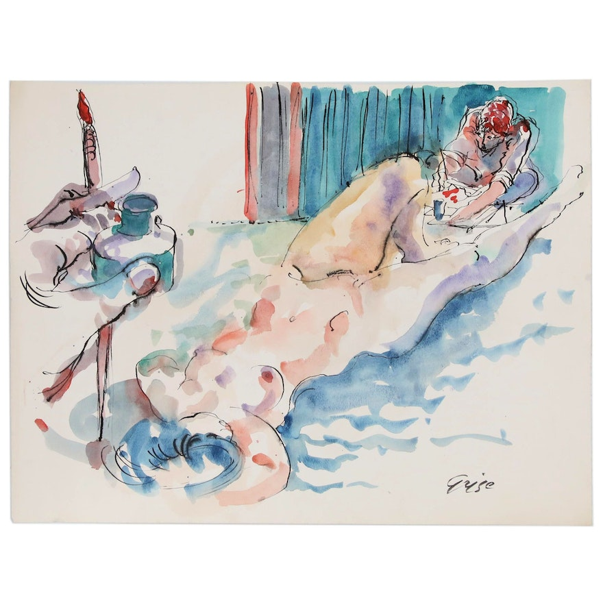 Hendrik Grise Watercolor Painting of Nude Figure