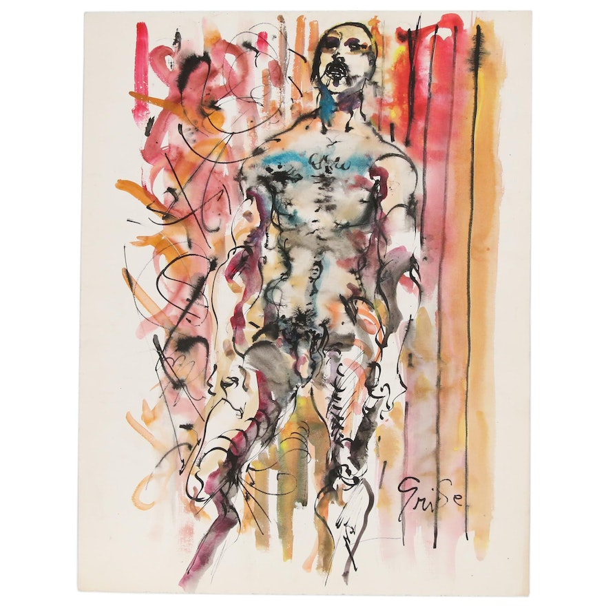 Hendrik Grise Ink and Watercolor Painting of Figure