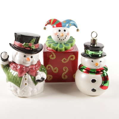 Snowman and Jester Ceramic Tabletop Décor