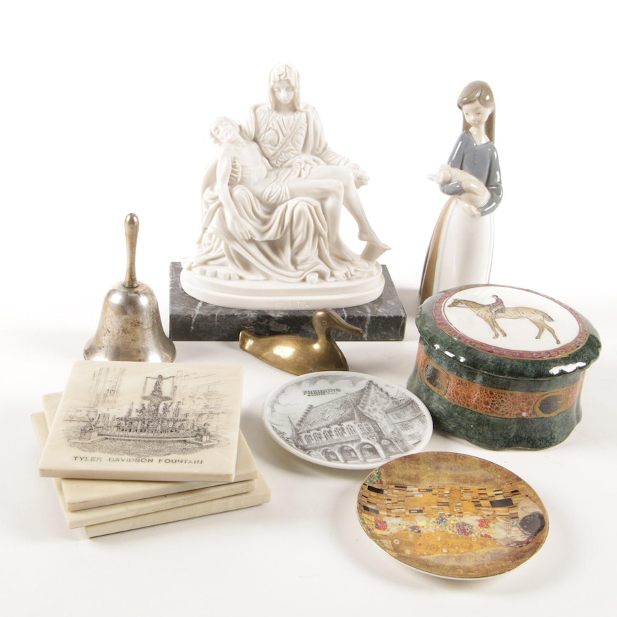 """Lladró """"Girl with Pig"""" Porcelain Figurine with Pietà Figurine and More"""