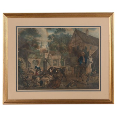 Hand-colored Lithograph of German Genre Scene