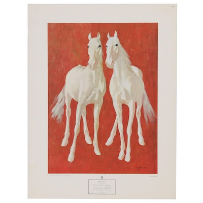 "After Ricardo Arenys Offset Lithograph ""White Thoroughbreds"""