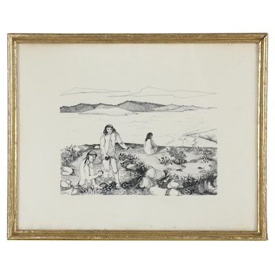 Lithographic Print after Dee Oppenheim  of Figures in Landscape