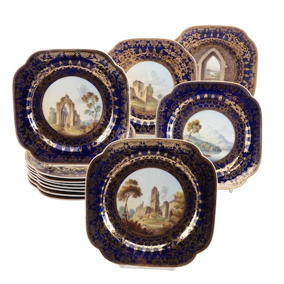 Spode Scene Painted Plates on Gilt Cobalt Ground, C. 1805-20
