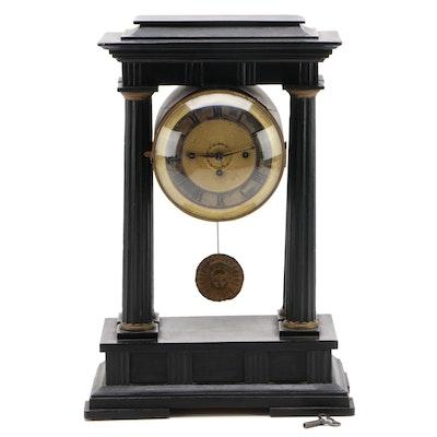 French Ebonized Wood Portico Clock, Mid-19th Century