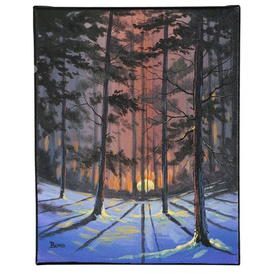 "Douglas ""Bumo"" Johnpeer Landscape Oil Painting ""Snow Blind"""