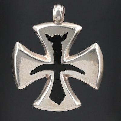 Sterling Silver Black Enamel Maltese Cross Pendant