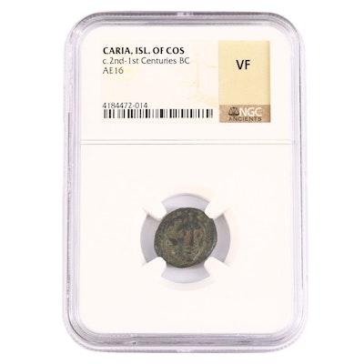 NGC Graded VF Ancient Karia, Kos AE16 Bronze Coin, ca. 100 B.C.