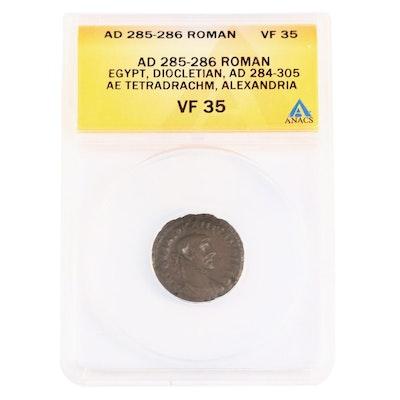 ANACS Graded VF35 Ancient Roman Egypt AE Tetradrachm of Diocletian, ca. 285 A.D.