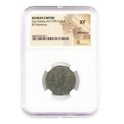 NGC Graded XF Ancient Roman Imperial AE Follis of Galeria Valeria, ca. 308 A.D.