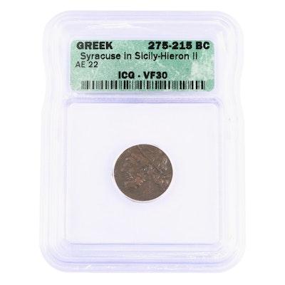 ICG graded VF30 Ancient Syracuse, Sicily AE22 Coin of Hieron II, ca. 270 B.C.