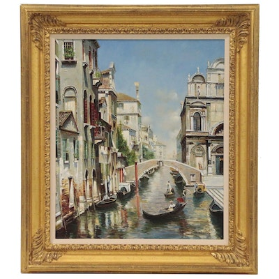 Canal Scene Oil Painting After Rubens Santoro