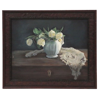 Still Life Oil Painting with Tulips and Lace