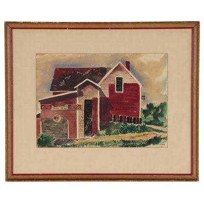 E. Carr Architectural Watercolor Painting